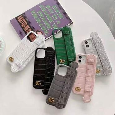 グッチブランドiphone12/12pro max/12pro/12miniケースクワニ紋の手首バンド付き iphone x/xr/xs/xs maxケース ファッションiphone11/11pro maxケース個性潮iphone se2/8/7plusケース安い