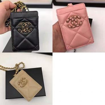 Chanelレディースレザーカードバッグブランドパロディ シャネル 紛失防止カード収納バッグ おしゃれストラップ付き携帯便利カードバッグ
