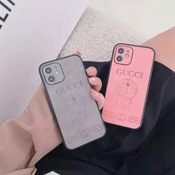 グッチかわいいiphone12/12pro max/12pro/13ケースブランドドラえもんプリントiphone11/11pro max/11proケースGucci男女兼用iphone x/xr/xs/xs maxケース激安iphone 12mini/se2/8/7plusケース