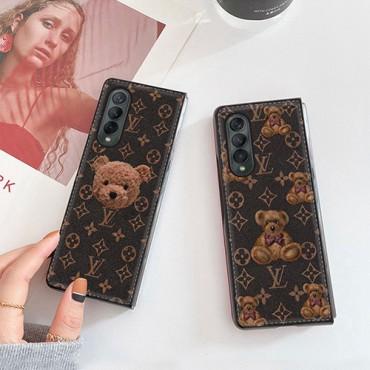 ルイヴィトンブランドGalaxy Z Fold3ケースかわいいクマ柄高品質レザースマホケース全面保護 人気Galaxy Z Fold3ケース