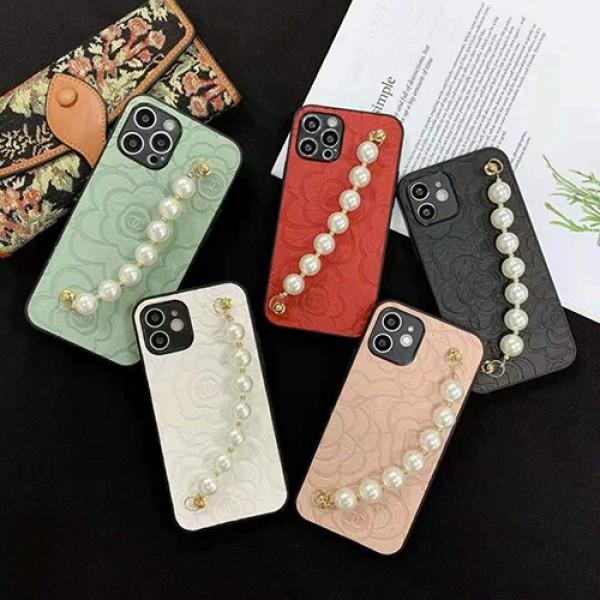シャネルブランドiphone12/12 pro/12 mini/12 pro maxケースおしゃれ花柄iphone11/11pro maxケースレディースペルラバンドつきiphone 11pro/x/xs/xs maxケース韓国風iphone xr/se2/8/7plusケース