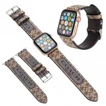 COACHコーチブランドアップル ウォッチ6/seレザーバンドフェンディファッションロゴ人気ウォッチストラップ男女兼用apple watch6/seベルト