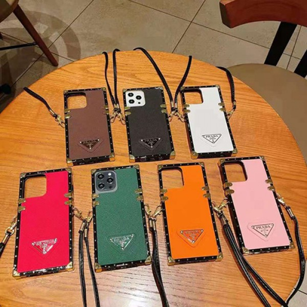 プラダブランドiphone12/12pro max/12pro/12miniケースレディース向けおしゃれGalaxy s20+/S21/S21+/S21ultraケーストラック型耐衝撃iphone11/11pro maxケースストラップ付きGalaxy note8/note10/note20/note20Uケース