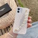 シャネルブランドiphone12/12pro/12mini/12pro maxケースおしゃれツバキシリーズiphone11/11pro/11pro maxケースパールブレスレット付きiphone x/xr/xs/xs maxハードケースレディースiphone se2/8/7ケース