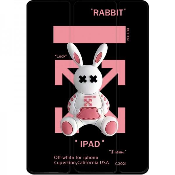 オフホワイトブランドiPad mini1/2/3/4/5ケース7.9インチかわいいウサギ絵柄iPad 2021ケース10.2インチおしゃれ全面保護 iPad air 1/2/3/4カバー
