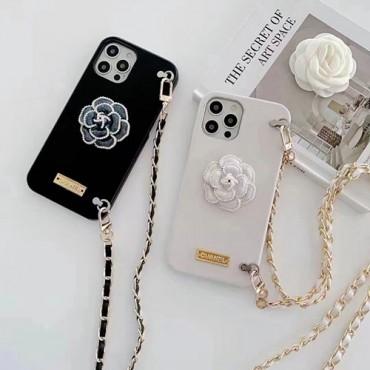 シャネルブランドiphone13ケースおしゃれ立体ツバキiphone13mini/13pro/13pro maxケースストラップ付きiphone12/12mini/12pro/12pro maxケース携帯便利レディースiphone11/11pro/11pro maxケース