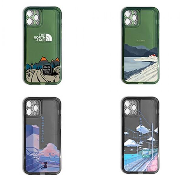 ザノースフェスブランドiphone13/13mini/13pro/13pro maxケースファッションハーフ透明シリコンiphone12/12pro/12mini/12pro maxケース超薄 耐衝撃iphone11/11pro max/11proケース