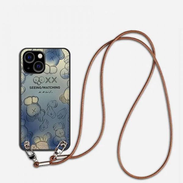 カウズハイブランドiphone13/13pro maxケースファッショングラデーションiphone13mini/13proケースKaws 斜め掛けストラップ付きアイフォン13ケース
