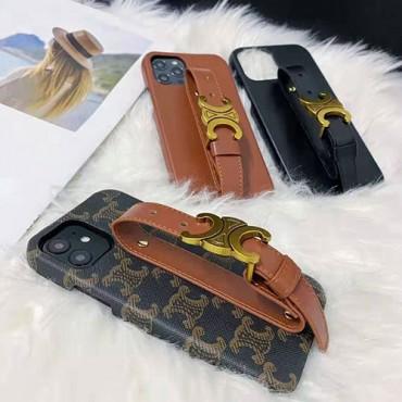 セリーヌ ブランドiphone 12/12pro maxケース ins風 iphone11/11pro max/se2ケース銅の金具の手首バンド iphone12 pro/11pro/xs max/8/7plusケース