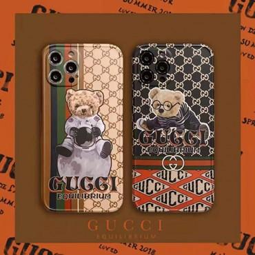 グッチ ブランドクマ柄 iphone 12/12 pro/12 mini/12 pro maxケース シンプルパロディiphone 11/11pro/11 pro maxケース 新品可愛いiphone xs/x/7/8 plus/se2ケース