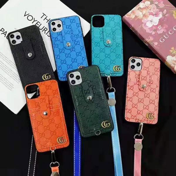 グッチ ブランドパロディiphone 12/12 pro/12 mini/12 pro maxケース ストラップ付き個性潮 iphone x/xr/xs/xs maxケースカードポケットつきiphone 11/11 proケースコピーおしゃれiphone se2/8/7plusケースブランドファッションins風高級 人気
