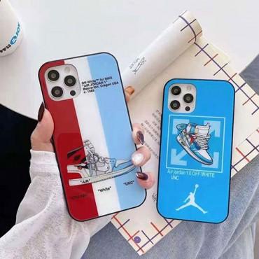 オフ-ホワイト ブランド白光のガラス保護ケースナイキiphone12/12pro maxケースジョーダン個性潮 iphone x/xr/xs/xs maxケースファッション ins風 iphone 6/7/8/ se2ケース 大人気