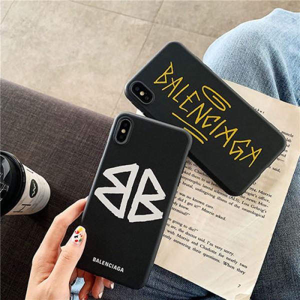 バレンシアガ ブランドiphone 12 Mini/12 Pro/12 Pro Max/12ケースシンプルブラックiPhone 11/11 pro/11 pro maxケースファッションins風保護ケース かわいいブランドiphone xs/xs max/8/7plusカバー