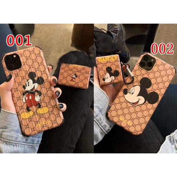 グッチ iphone12/11/11 pro/11 pro max/se2 エアーポッズ ケースプロ1/2ケース  最新 ミッキー gucci 大人気  かわいい アイフォンx/xs/xr/8/7カバー エアーポッズ 1/2ケース  ブランド GGロゴ 韓国 カップル 高級感 激安