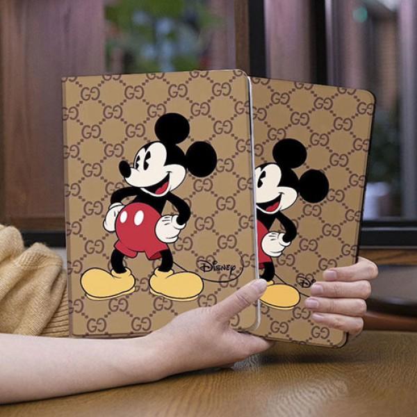 Gucci  Disney ディズニーミッキーマウス コラボ モノグラム ダミエ アイパッドエア4/アイパッド8ケース 手帳型IPadair4/ipad8 10.8/10.2inch  ブランドパロディ高級感 メンズ レデイーズ