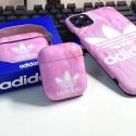 三つ葉 Adidas iphone11 pro/11 pro max/se2ケース airpods pro1/2ケース マーブル柄 スポーツ風 ブランド ファッション 激安  ストラップ付き アディダス アイフォンx/xs/xr/8/7カバー エアーポッズ 1/2ケース カップル